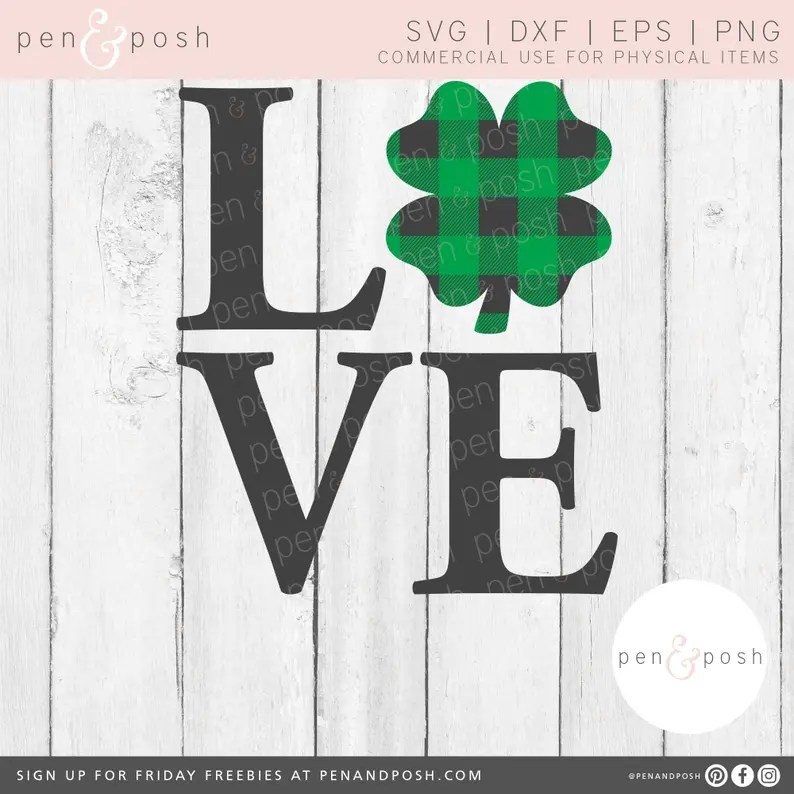 Download Love Shamrock SVG Love Clover SVG Plaid Shamrock SVG | Etsy