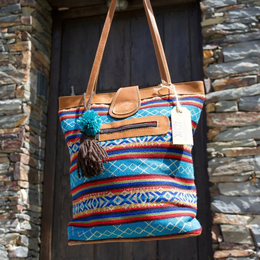 Blue ethnic tote bag, Boh...