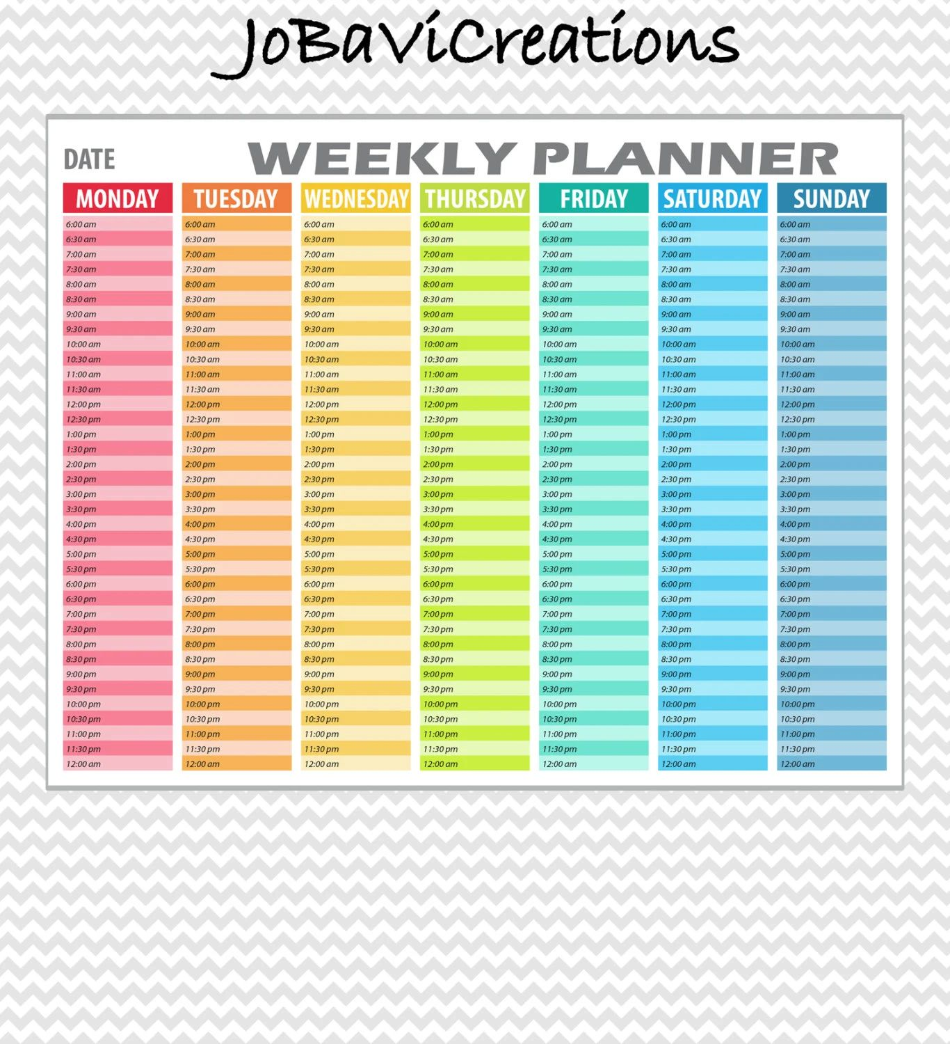 weekly schedule organizer