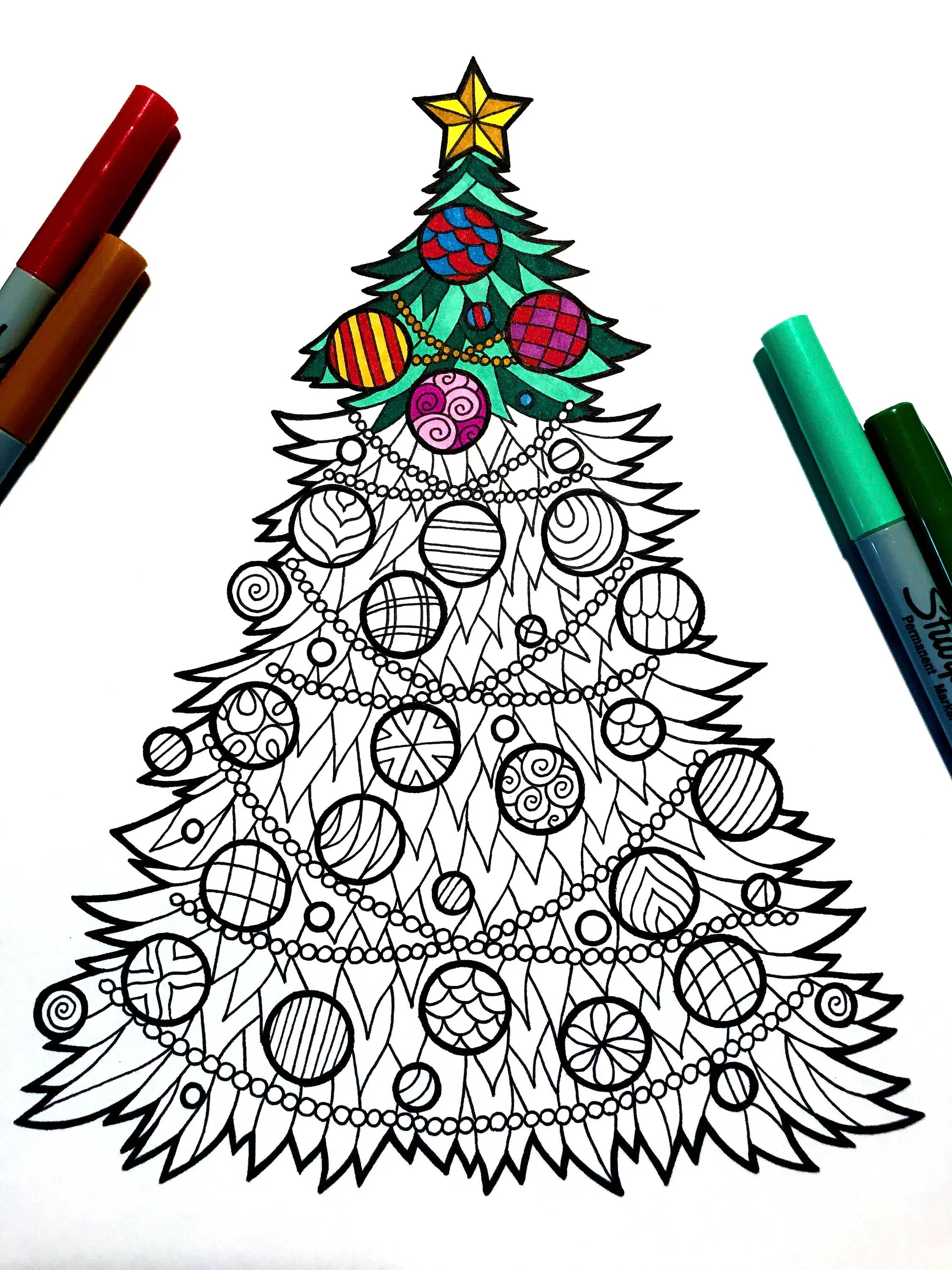 Christmas Tree Zentangle Coloring Page