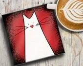 CAT COASTER: white cat on...