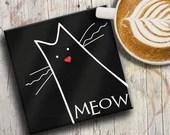 CAT COASTER: black cat on...