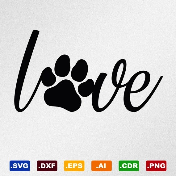 Download Love Paw Print Love Dog Svg Dxf Eps Ai Cdr Vector Files | Etsy