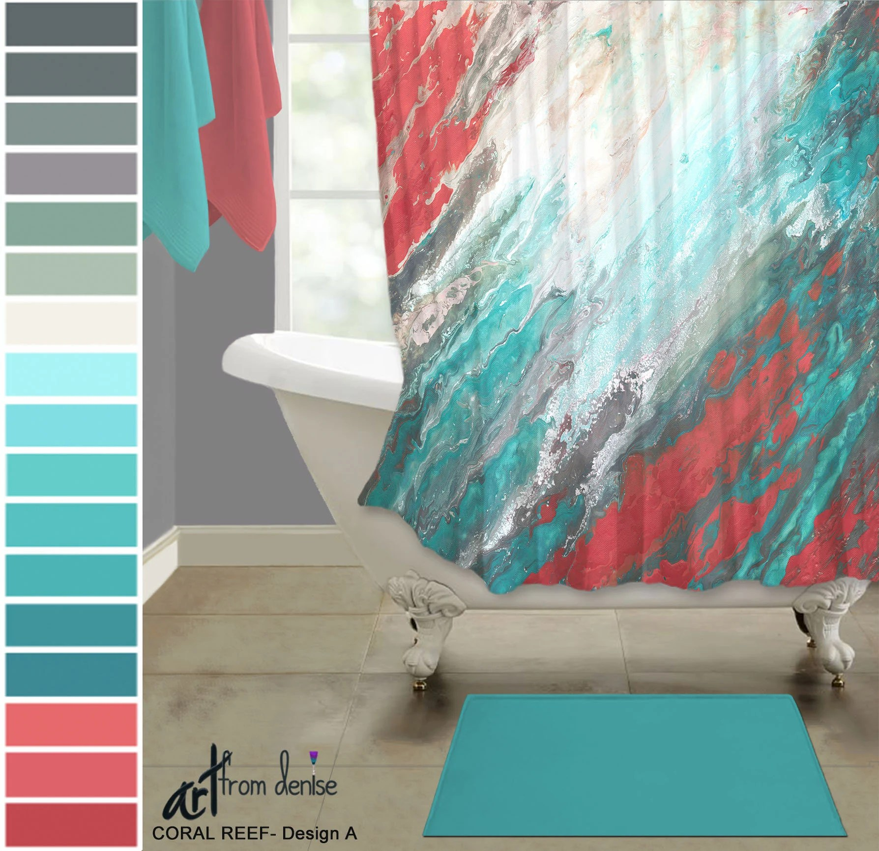 gray coral and teal shower curtain modern abstract fabric shower stall curtain for white aqua bathroom decor
