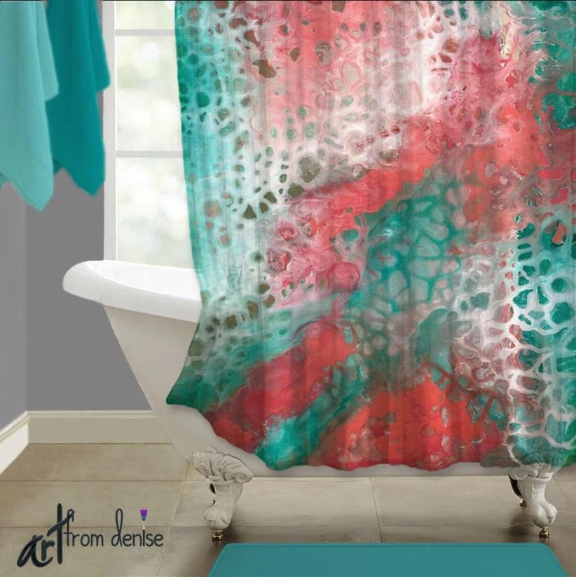 teal coral gray abstract shower curtain art aqua seafoam green bathroom decor high quality upscale home decor designer bath master