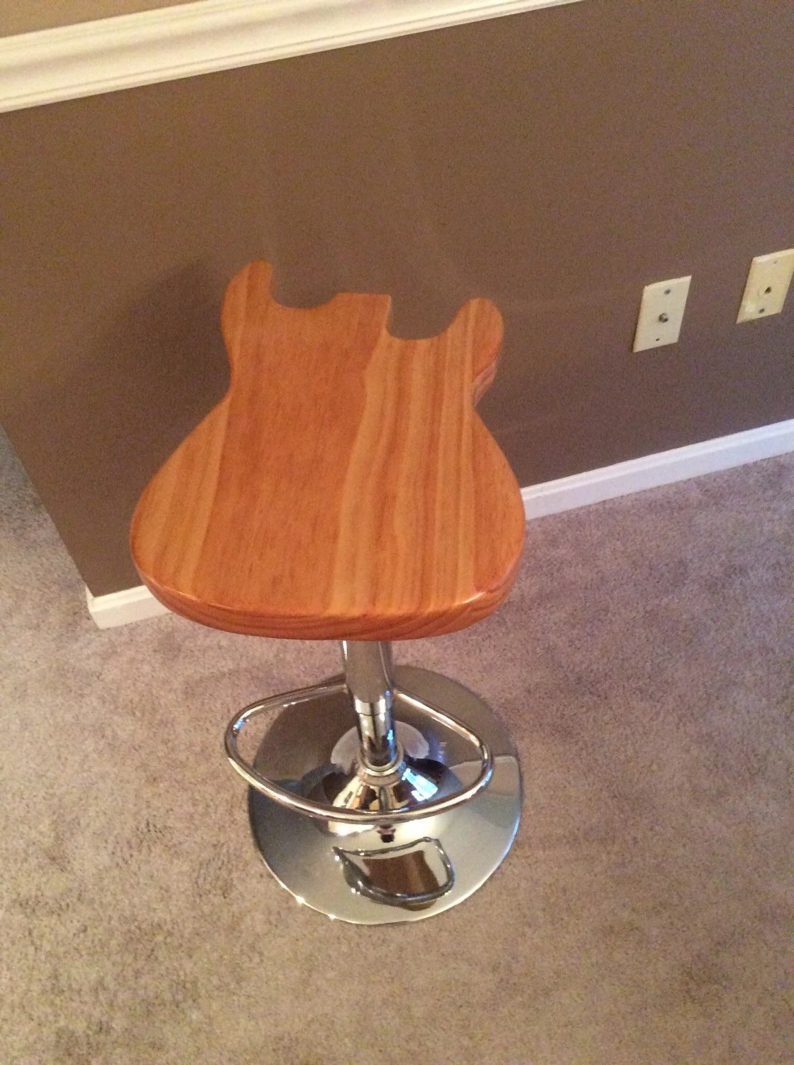 guitar shaped chair elmo pull out stool etsy stratocaster custom made footrest and neck back extra