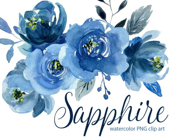 watercolor flower clipart indigo
