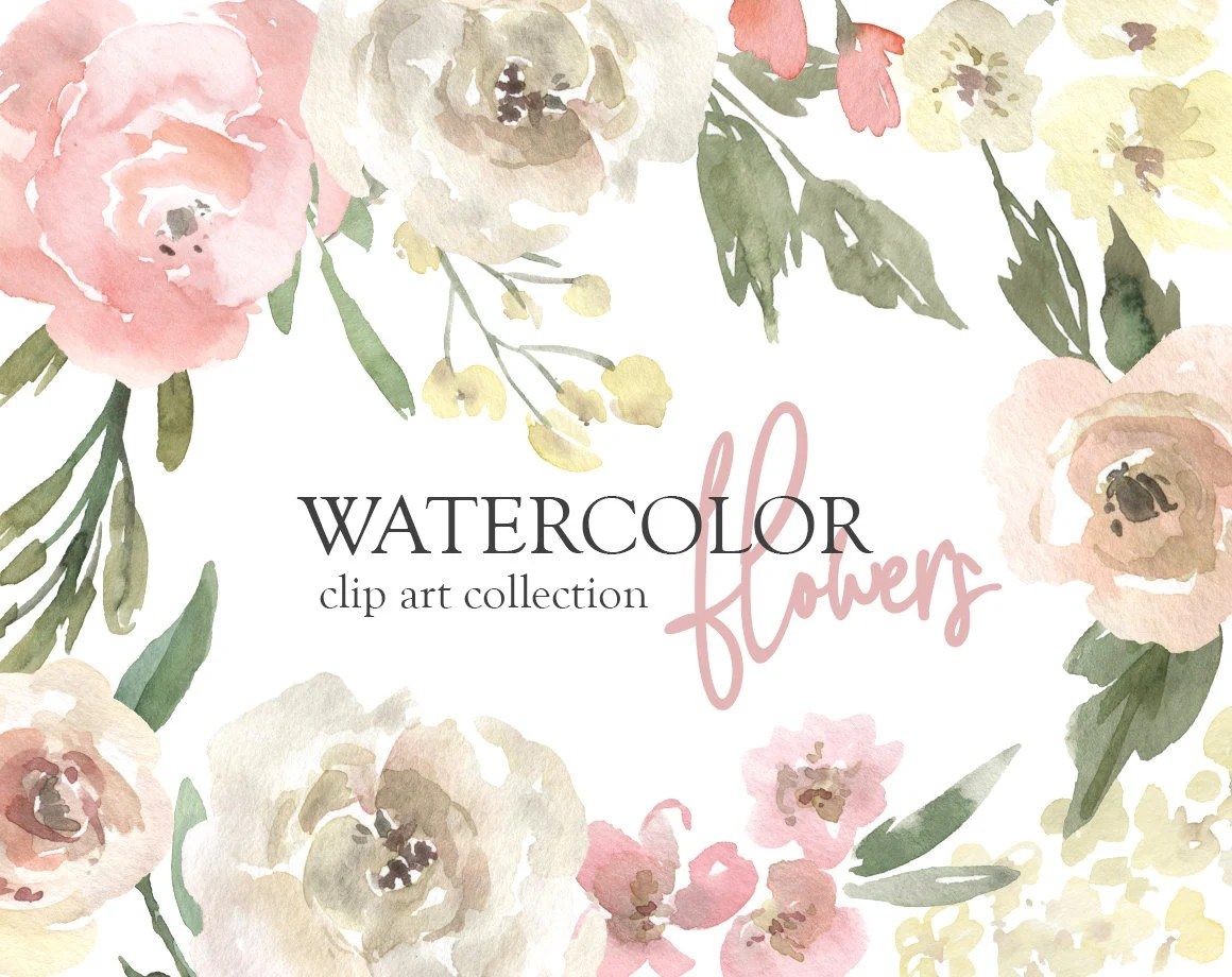 watercolor flowers clipart gentle