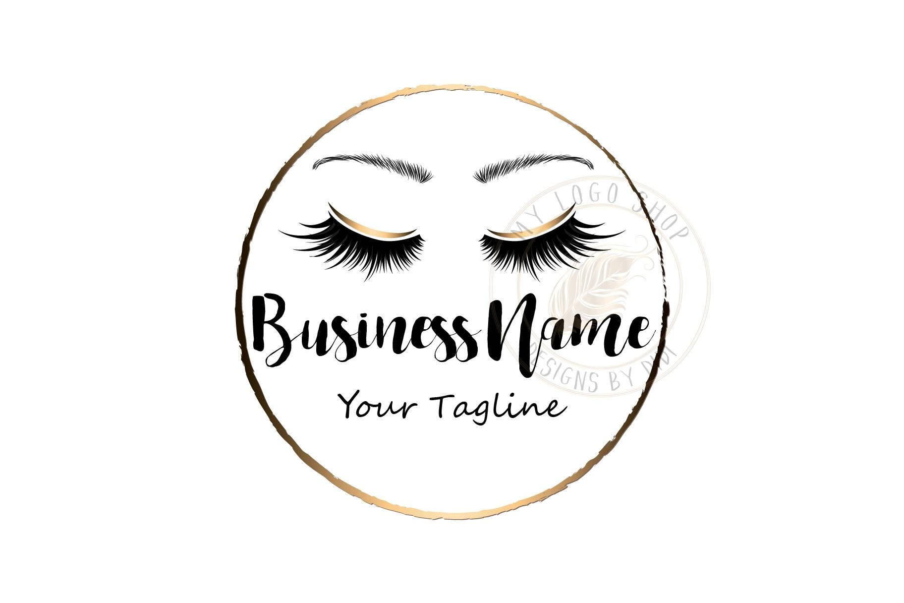 Custom Logo Black Gold Lashes Logo Eyelash Logo Cosmetics