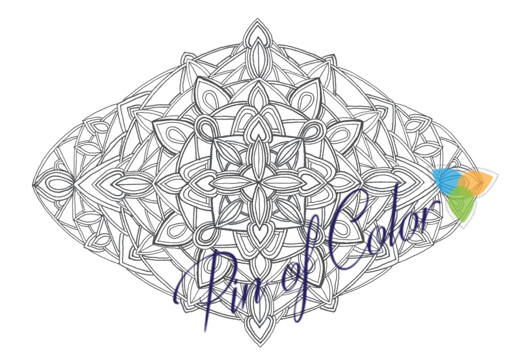 Coloring mandala page for adults. Printable Hand painted