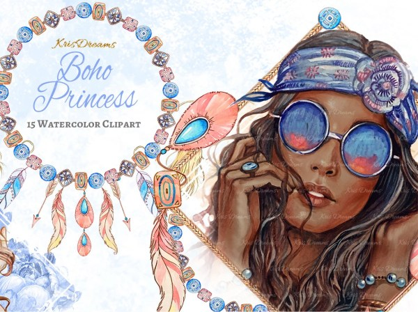 Boho Style Fashion Clip Art African American Watercolor