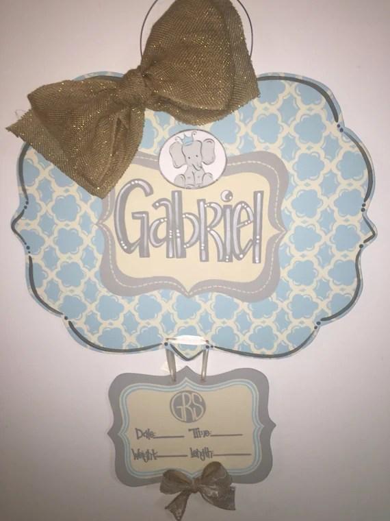 Baby Boy Birth Announcement Door Hangers : birth, announcement, hangers, Hospital, Hanger, Wooden, Birth, Announcement