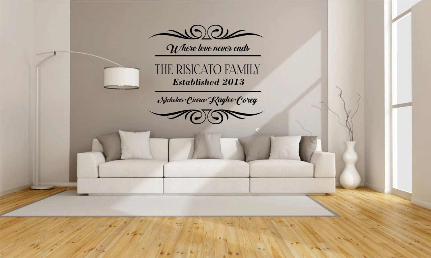 wall stickers living room mustard yellow and grey ideas decal etsy family love never ends art