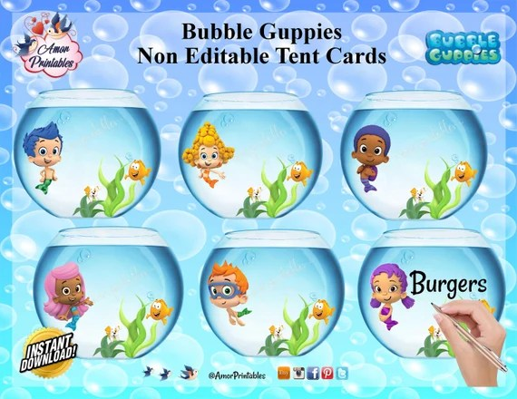 Bubble Guppies Tables Tents Bubble Guppies Printables Etsy