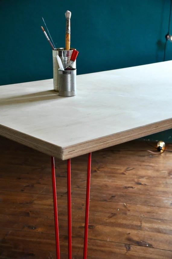 Plywood Desk Design : plywood, design, Industrial, Birch, Plywood, Steel, Hairpin