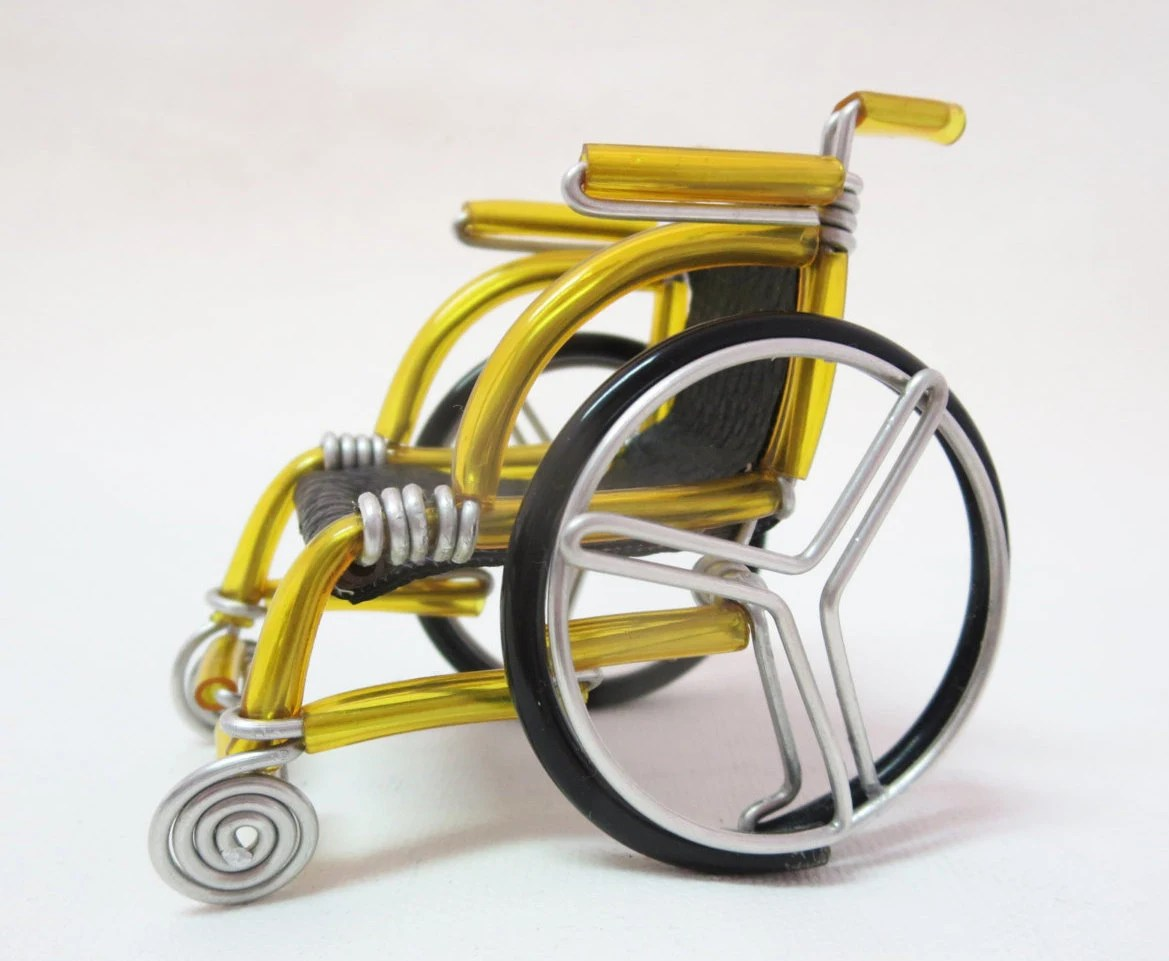 yellow wheelchair electric chair execution miniature etsy small handmade gift wire bending for him her 14