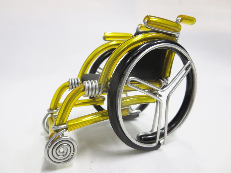 yellow wheelchair turquoise metal chair big miniature handmade etsy image 0