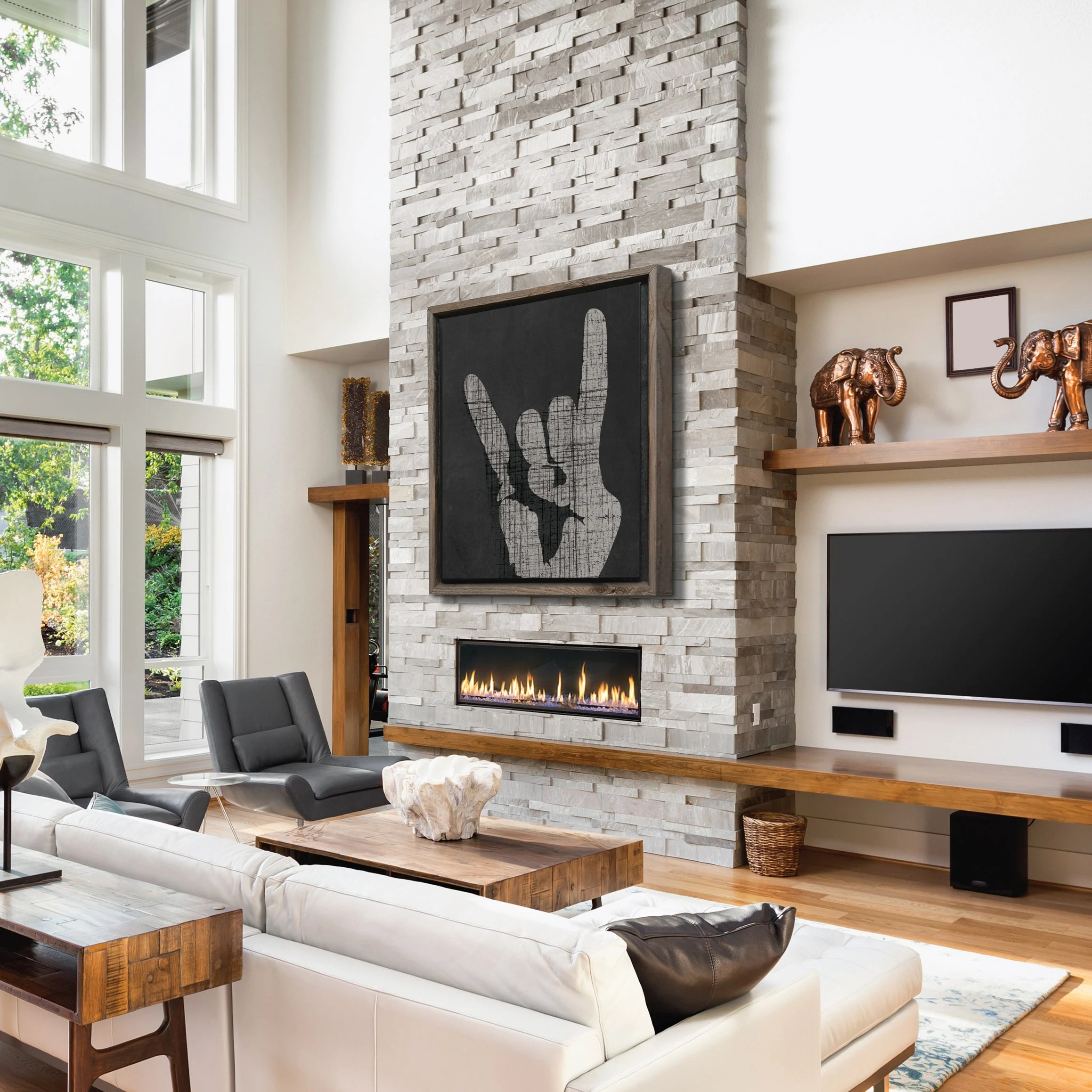 large pictures for living room wall need help decorating my art etsy rock on canvas rustic modern home decor birthday gift housewarming black him kids reclaimed
