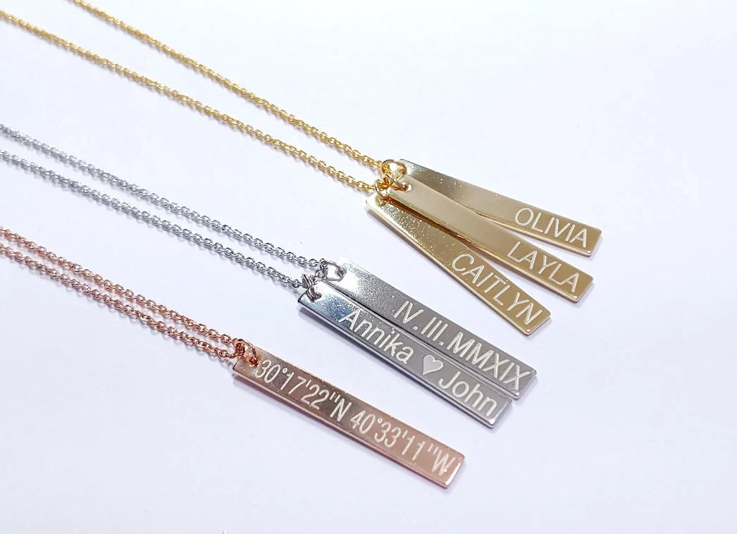 personalized gift bar necklace