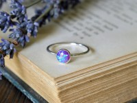Dark Purple Blue Opal Ring 925 - Stacking Ring ...