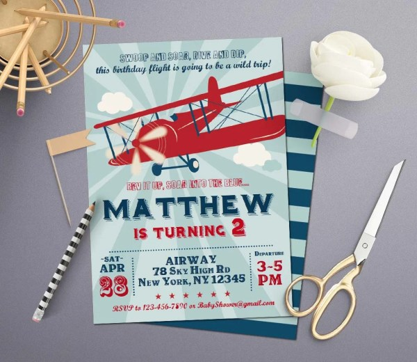 Editing Vintage Airplane Birthday Invitation