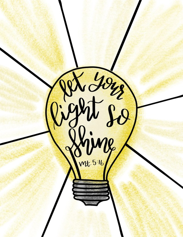 Let Your Light Shine Coloring Page - Bible Verse Coloring Page