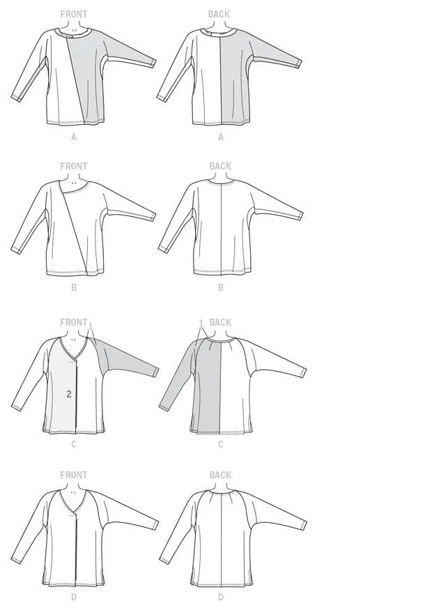 Sewing Pattern for Misses' Batwing Tops Butterick Pattern