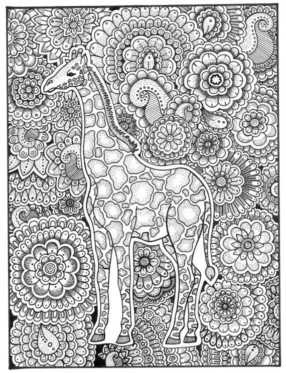 Giraffe Coloring Page Coloring Book Pages Printable Adult Etsy