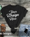 Mockup Flat Lay Shirt Black T Shirt Mock Up Womans T Etsy