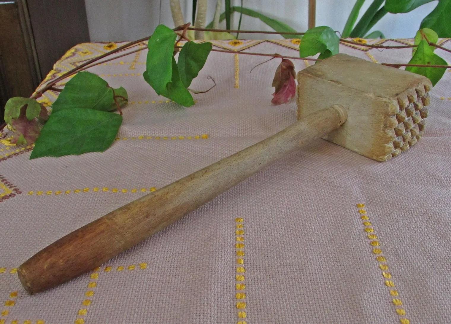 vintage wooden meat hammer