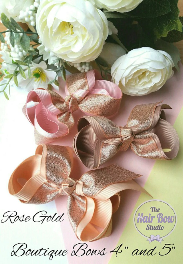"""rose gold hair bows,large boutique hair bow, 4"""" and 5"""",wedding bow, bridal bow, pink bow, beige bow, peach bow, party bows, uk"""