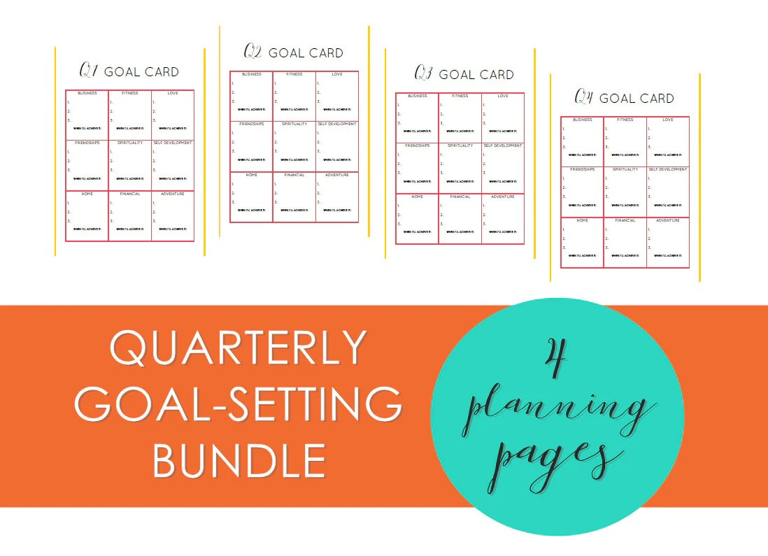 Quarterly Goal Setting Printable Planning Worksheets