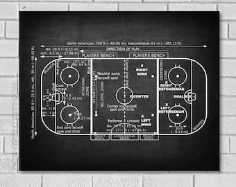 nhl hockey rink diagram printable intelligence cycle blueprint etsy gift ice patent print decor art sh000