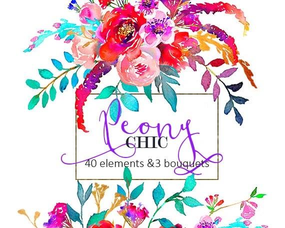watercolor flowers digital clipart