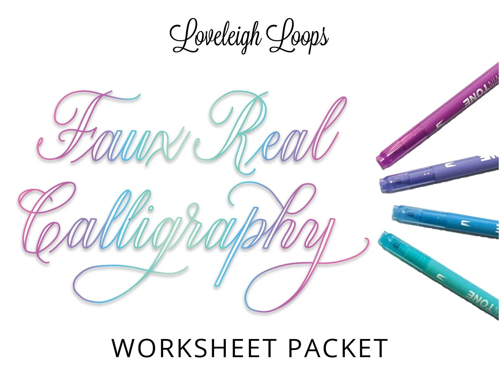 Faux Real Calligraphy Worksheet Packet