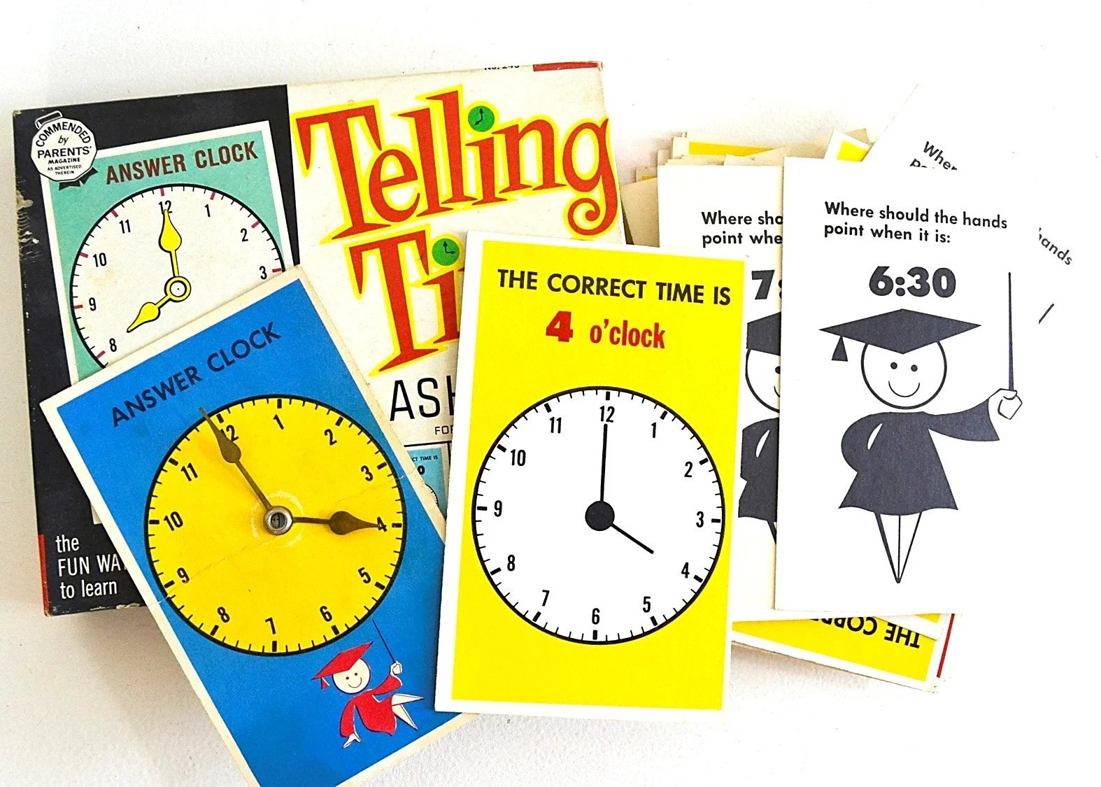 Vintage Telling Time Game Clock Flash Cards Learning Time