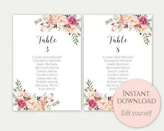 Wedding seating chart template cards sign editable instant download  also etsy rh