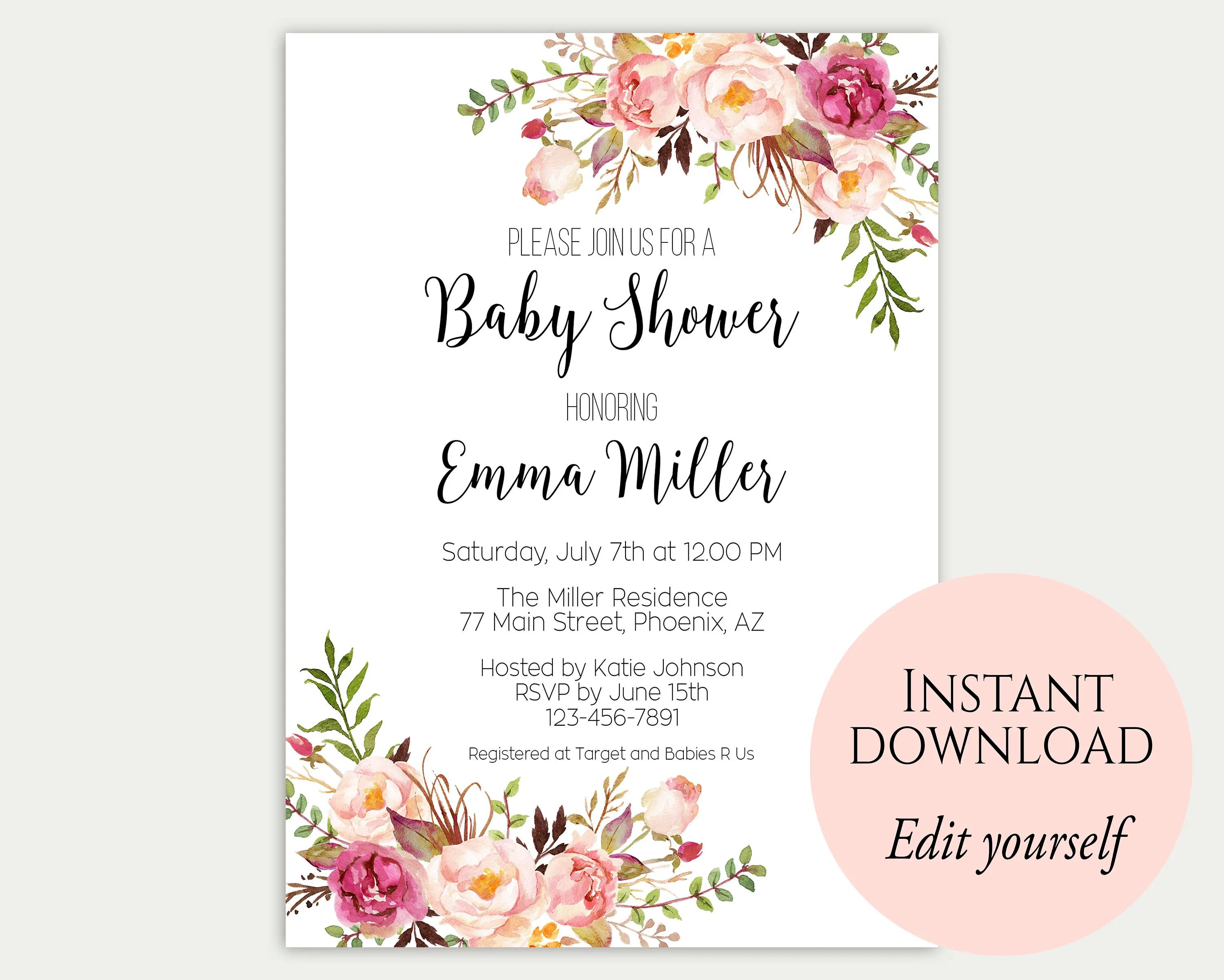 Baby Shower Invitation Template Baby Shower Invite Baby