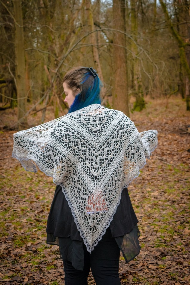 Handmade Lacey White and Grey Crochet Shawl Wrap