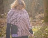 Handmade Pink Crochet Rectangle Scarf Wrap Shawl