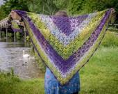 Handmade Crochet Green and Purple Wrap Shawl