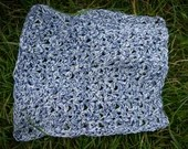Handmade Crochet Blue and White Cotton Facecloth