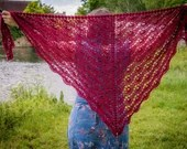 Handmade Crochet Red Wrap Lace Shawl