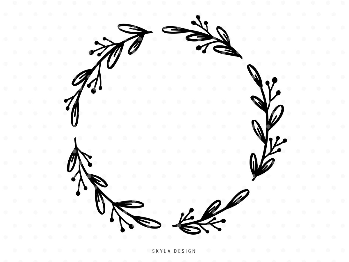 Leaves Wreath Svg Cutfile Thanksgiving Autumn Clipart