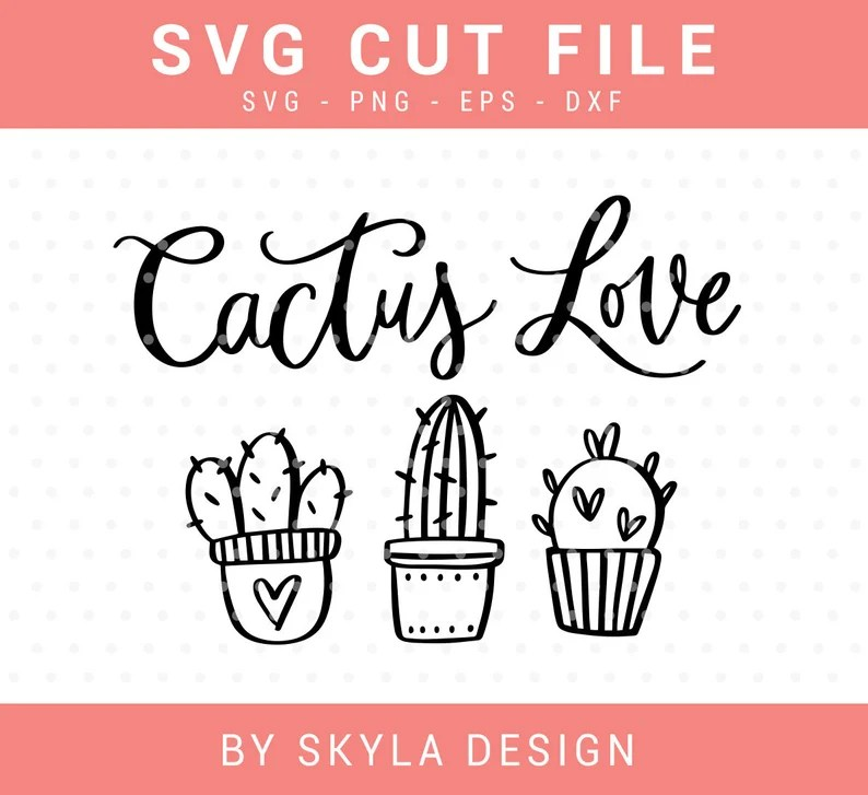 Download Cactus love SVG cutfile for silhouette and cricut | Etsy