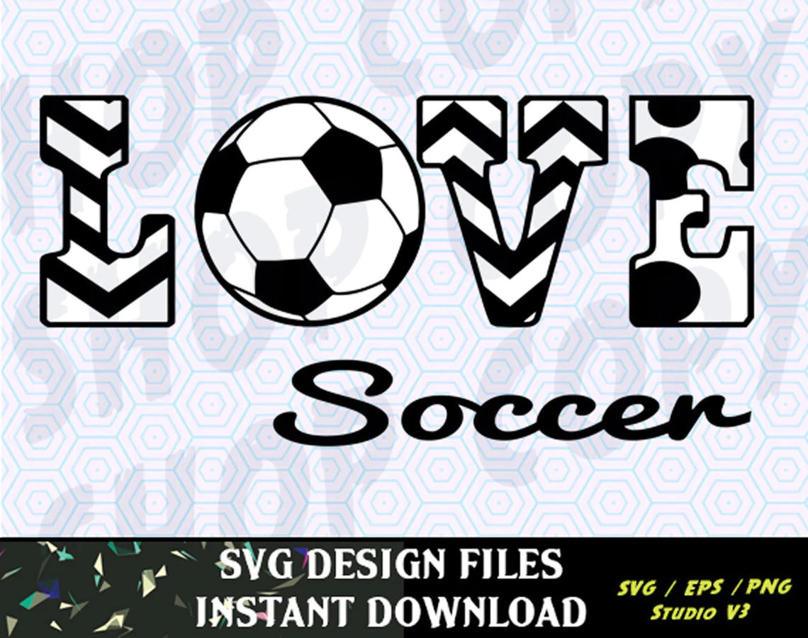 Download Love Soccer SVG Vinyl Cutting Decal for Mugs T Shirts Cars ...