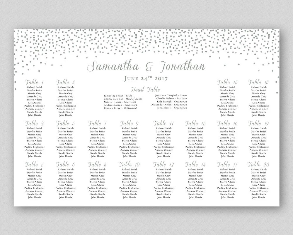 Silver glitter seating chart printable wedding grey dots table plan poster sign confetti also etsy rh