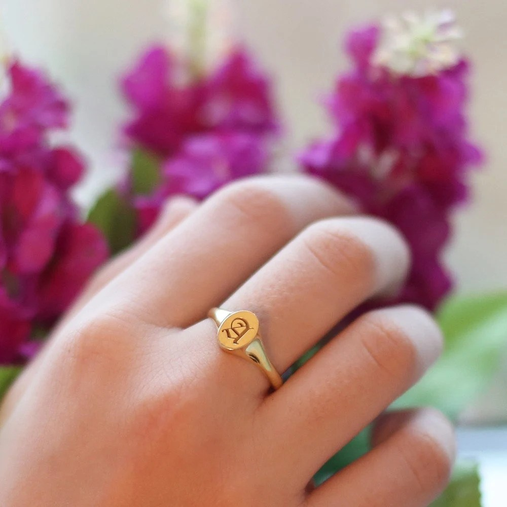 Initial Ring Personalized Signet Ring Gold Signet Custom image 1