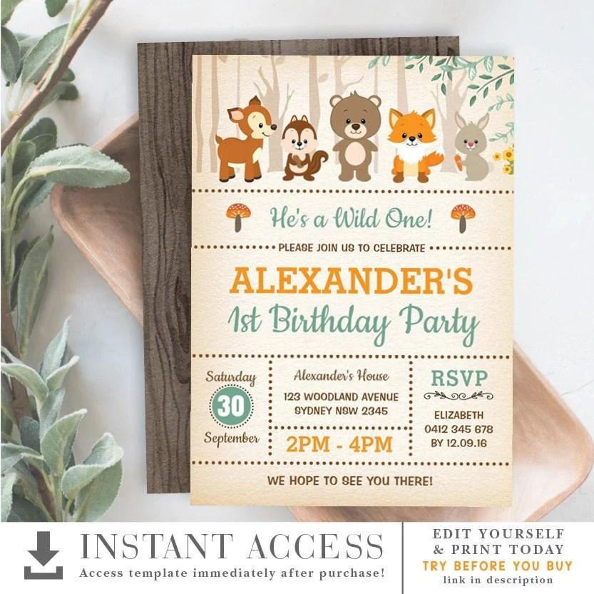 woodland 1st birthday invitation