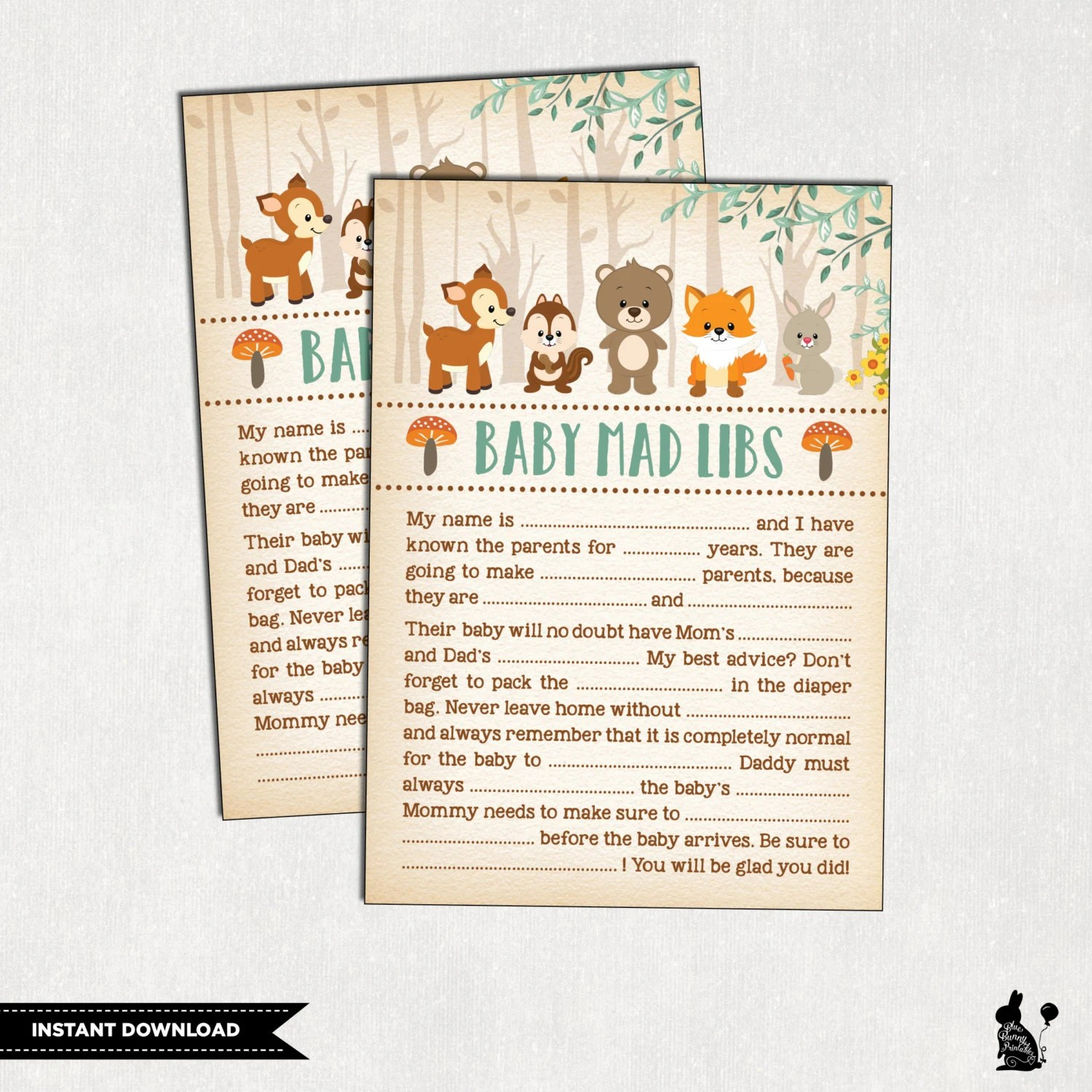 Woodland Baby Shower Mad Libs Baby Shower Advice Card Baby